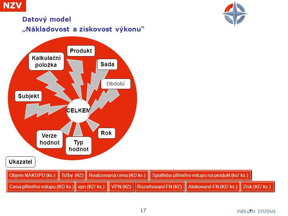 """Datový model """"Nákladovost a ziskovost výkonu"""