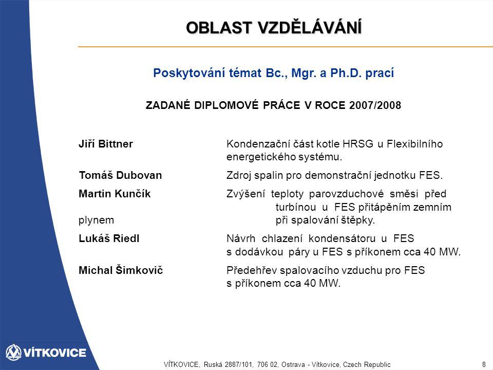 OBLAST VZDĚLÁVÁNÍ Poskytování témat Bc., Mgr. a Ph.D. prací