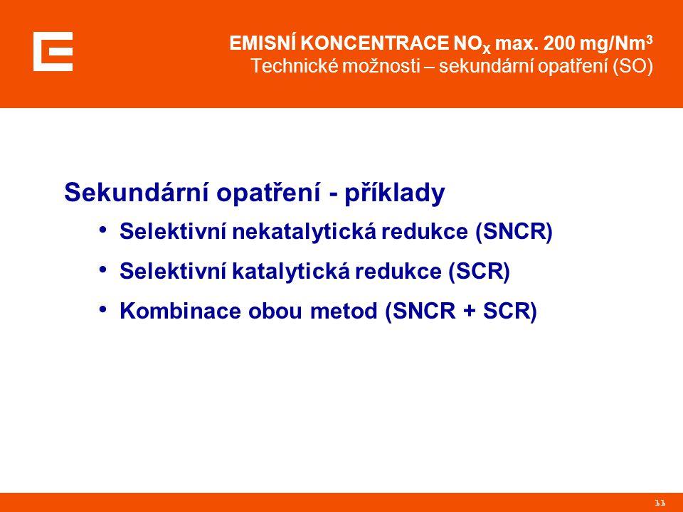 Sekundární opatření - příklady