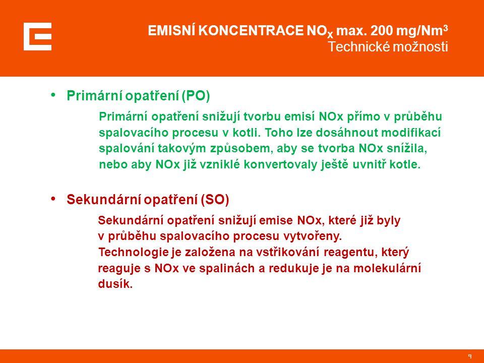 EMISNÍ KONCENTRACE NOX max. 200 mg/Nm3 Technické možnosti