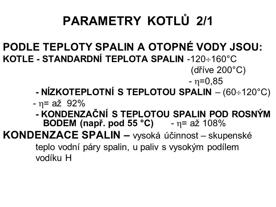 PARAMETRY KOTLŮ 2/1 PODLE TEPLOTY SPALIN A OTOPNÉ VODY JSOU: