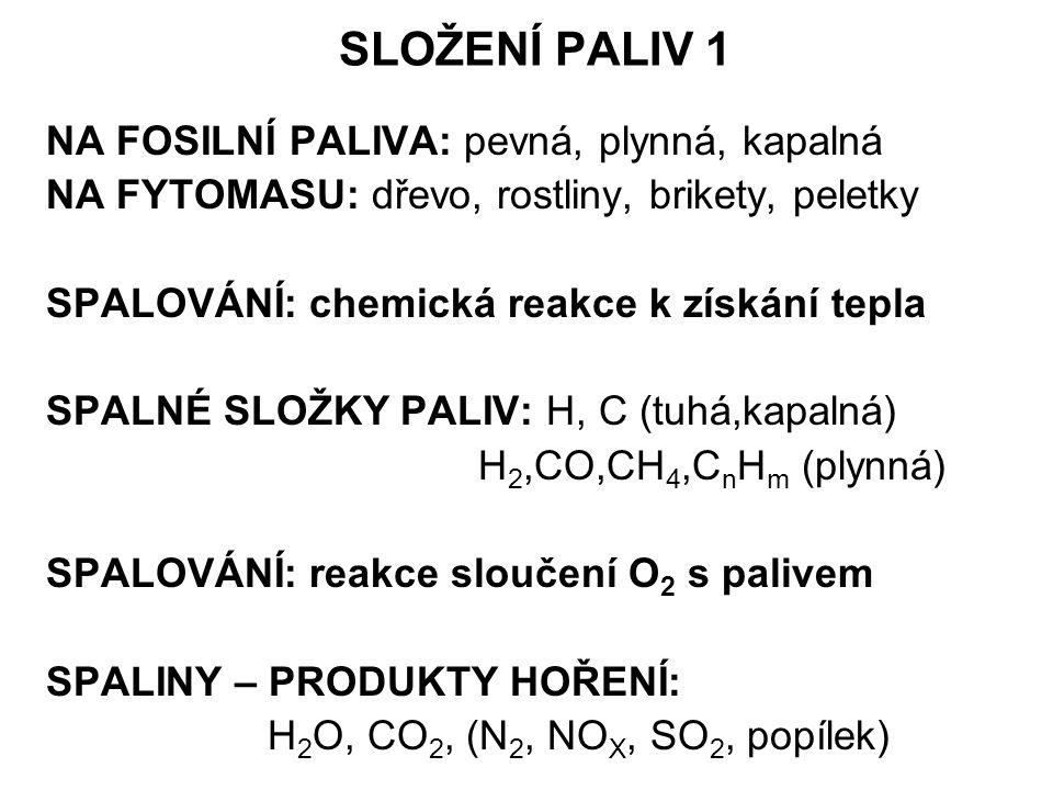 SLOŽENÍ PALIV 1 NA FOSILNÍ PALIVA: pevná, plynná, kapalná