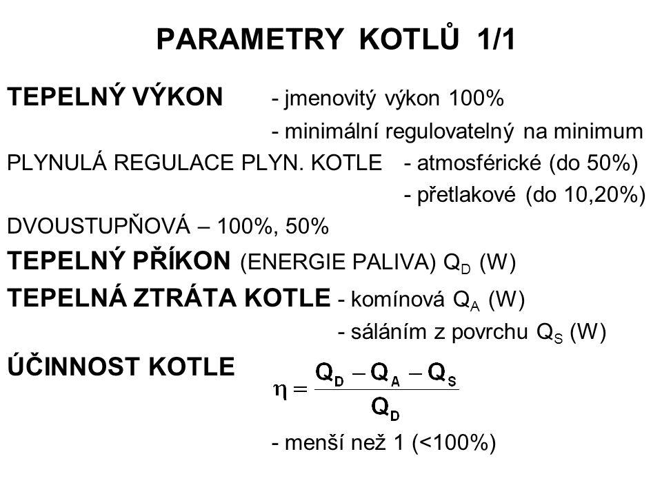 PARAMETRY KOTLŮ 1/1 TEPELNÝ VÝKON - jmenovitý výkon 100%