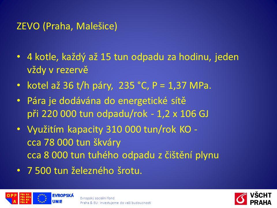 ZEVO (Praha, Malešice) 4 kotle, každý až 15 tun odpadu za hodinu, jeden vždy v rezervě. kotel až 36 t/h páry, 235 °C, P = 1,37 MPa.