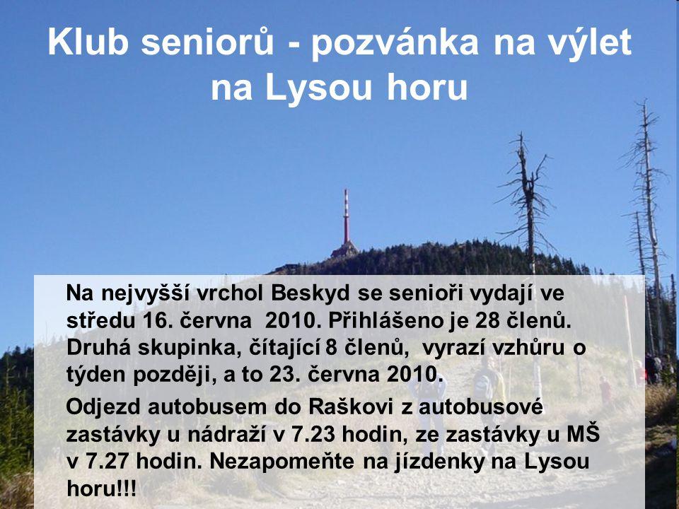 Klub seniorů - pozvánka na výlet na Lysou horu