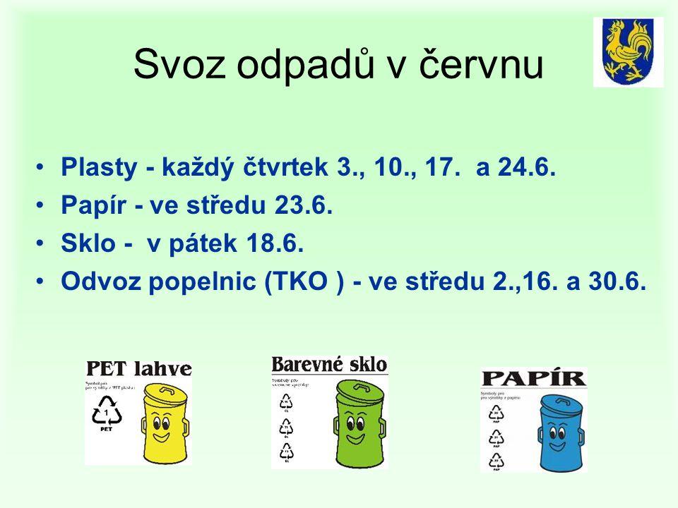 Svoz odpadů v červnu Plasty - každý čtvrtek 3., 10., 17. a 24.6.
