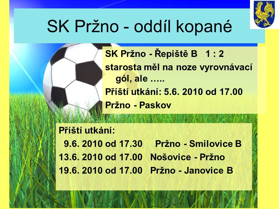 SK Pržno - oddíl kopané SK Pržno - Řepiště B 1 : 2 starosta měl na noze vyrovnávací gól, ale ….. Příští utkání: 5.6. 2010 od 17.00 Pržno - Paskov