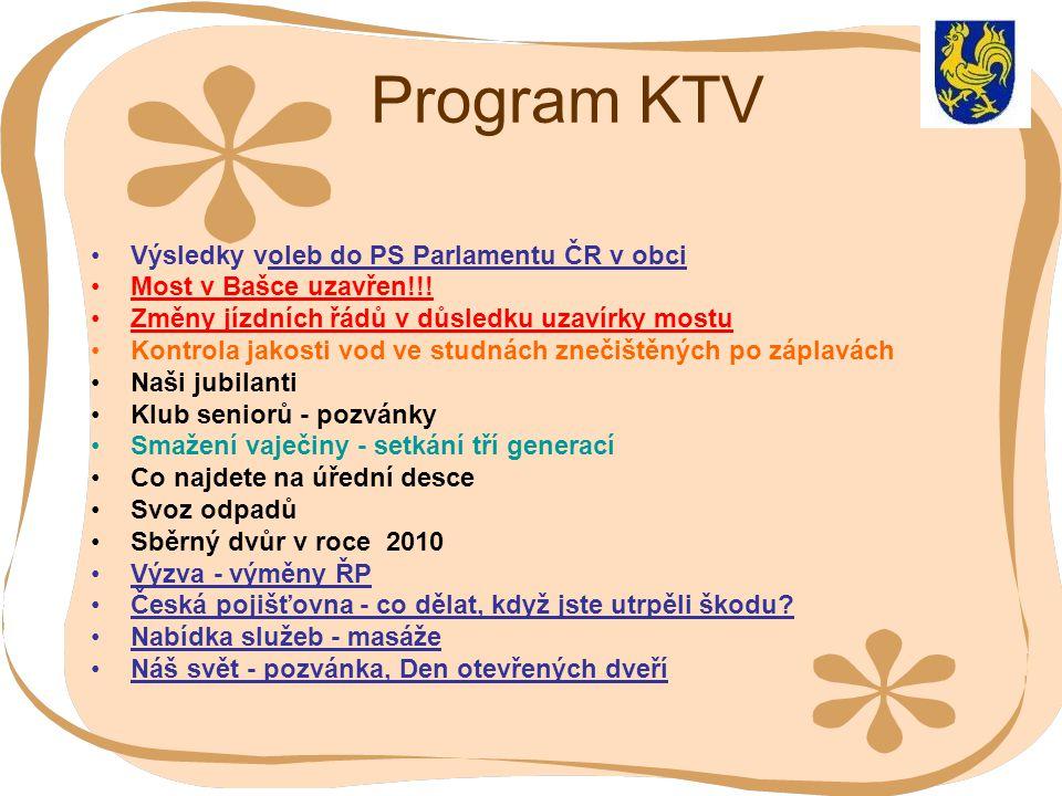 Program KTV Výsledky voleb do PS Parlamentu ČR v obci