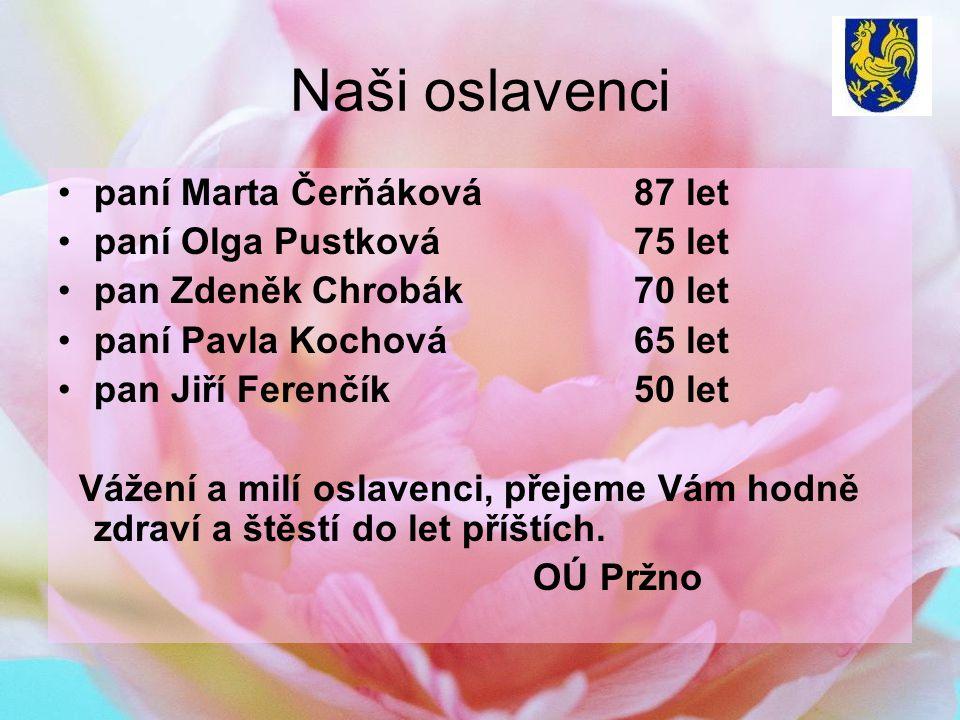 Naši oslavenci paní Marta Čerňáková 87 let paní Olga Pustková 75 let