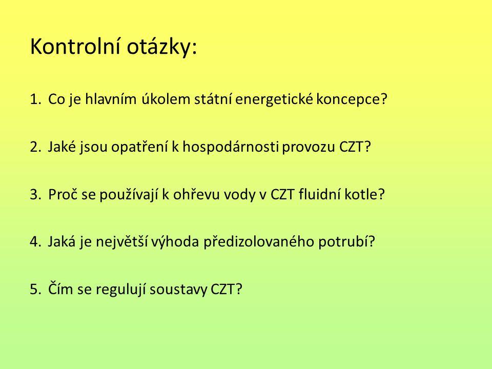 Kontrolní otázky: Co je hlavním úkolem státní energetické koncepce