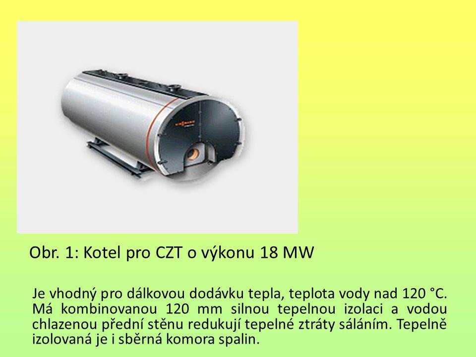 Obr. 1: Kotel pro CZT o výkonu 18 MW Je vhodný pro dálkovou dodávku tepla, teplota vody nad 120 °C.