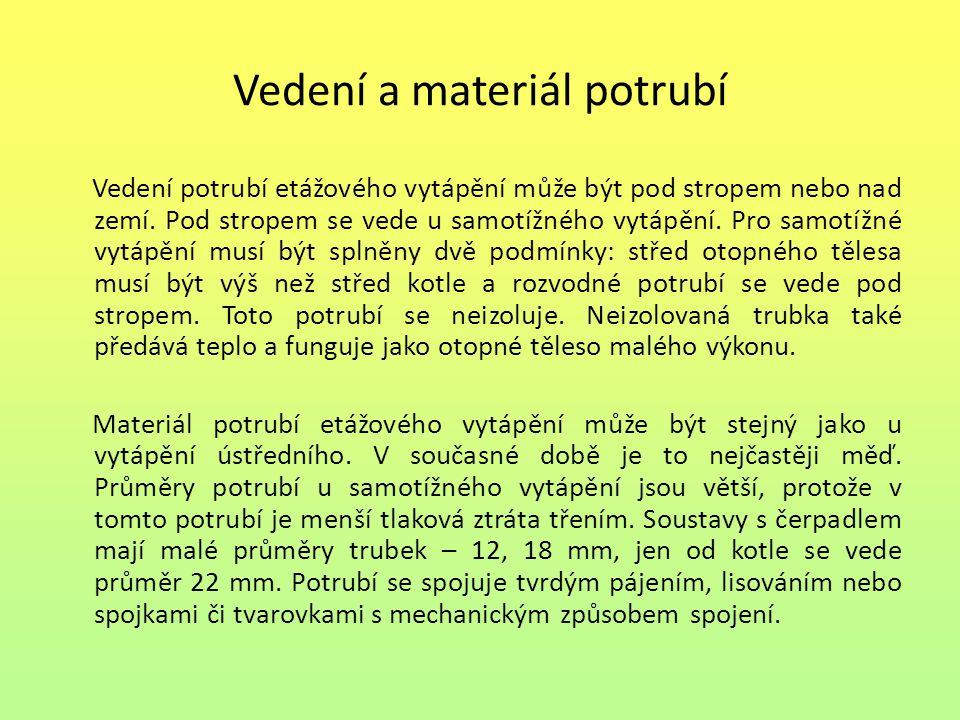 Vedení a materiál potrubí