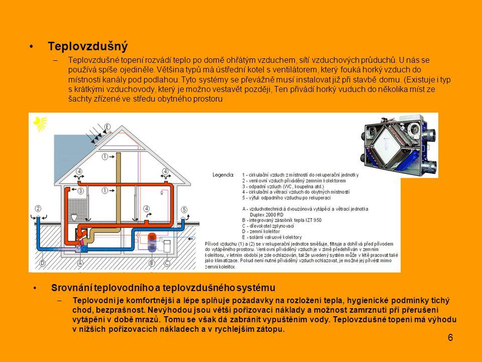 Teplovzdušný Srovnání teplovodního a teplovzdušného systému