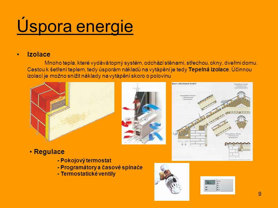 Úspora energie Izolace Regulace - Pokojový termostat