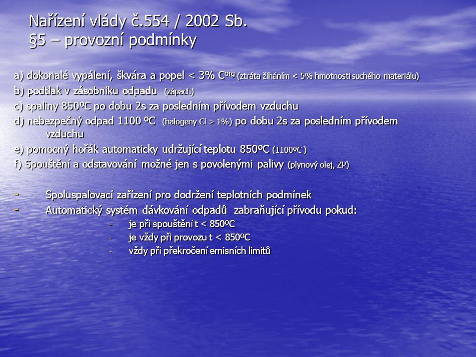 Nařízení vlády č.554 / 2002 Sb. §5 – provozní podmínky