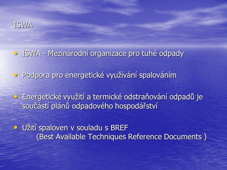 ISWA ISWA - Mezinárodní organizace pro tuhé odpady. Podpora pro energetické využívání spalováním.