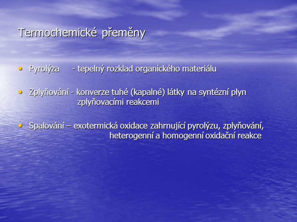Termochemické přeměny