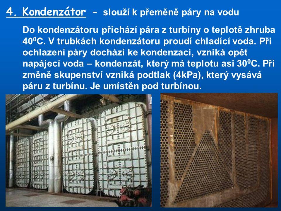 4. Kondenzátor - slouží k přeměně páry na vodu