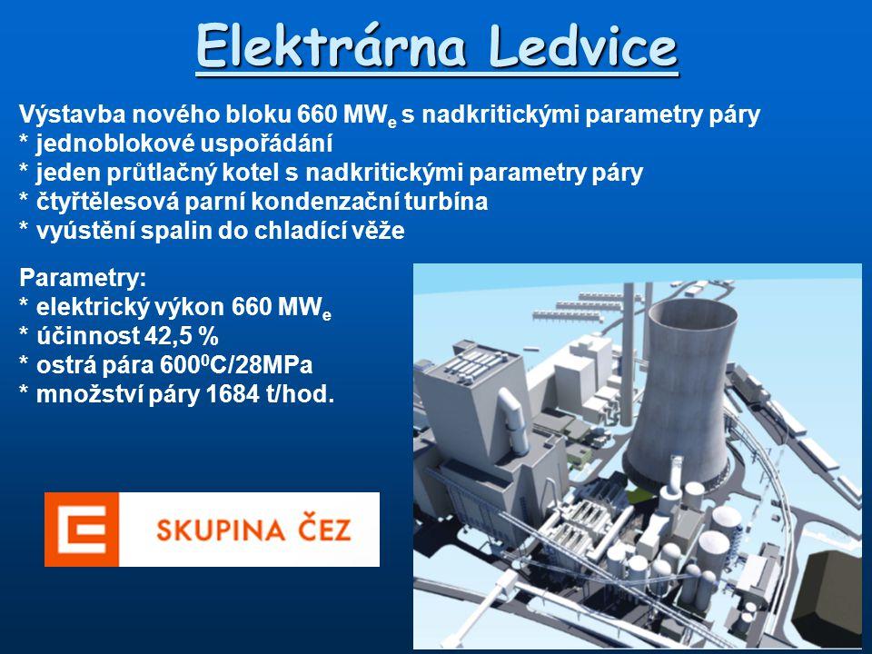 Elektrárna Ledvice Výstavba nového bloku 660 MWe s nadkritickými parametry páry. * jednoblokové uspořádání.