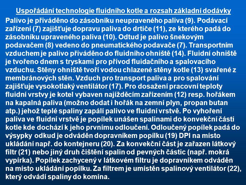 Uspořádání technologie fluidního kotle a rozsah základní dodávky