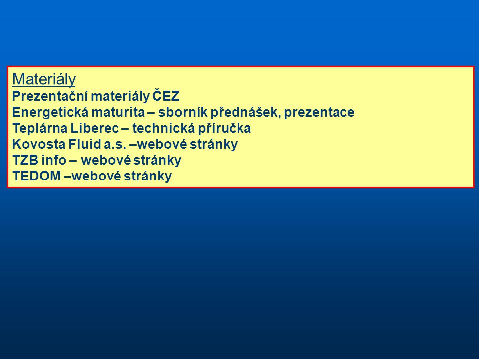 Materiály Prezentační materiály ČEZ
