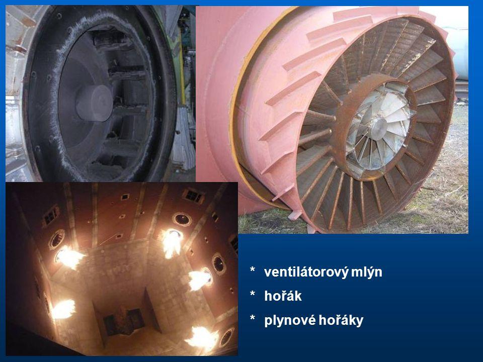 * ventilátorový mlýn * hořák * plynové hořáky
