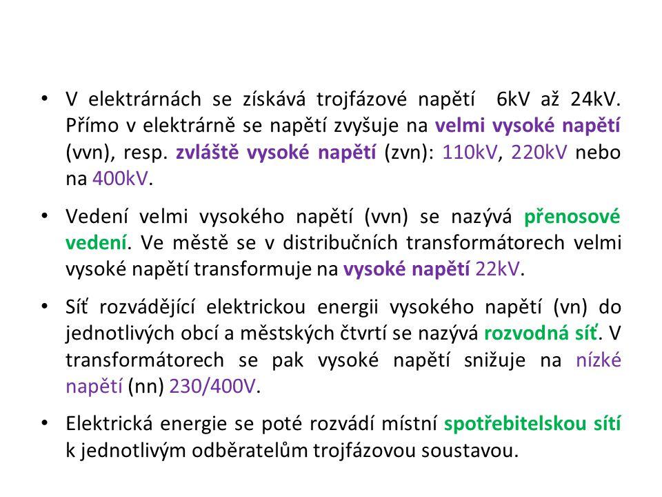 V elektrárnách se získává trojfázové napětí 6kV až 24kV