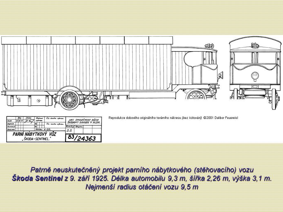 Patrně neuskutečněný projekt parního nábytkového (stěhovacího) vozu Škoda Sentinel z 9.