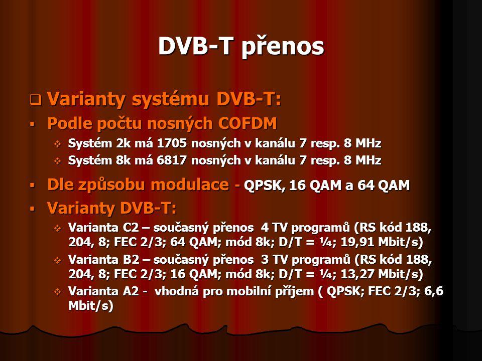 DVB-T přenos Varianty systému DVB-T: Podle počtu nosných COFDM