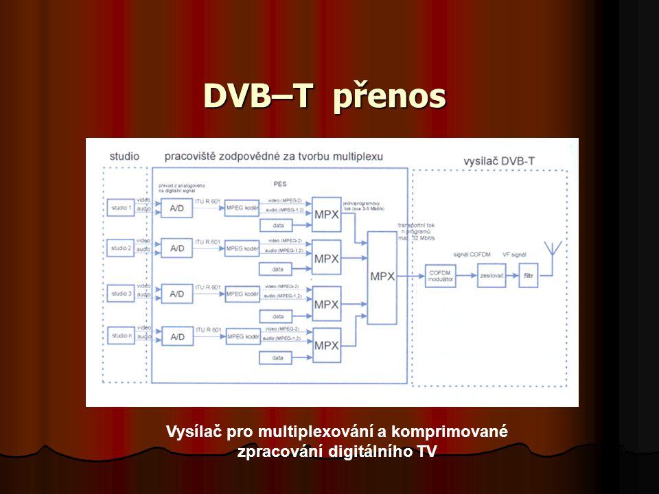 Vysílač pro multiplexování a komprimované zpracování digitálního TV
