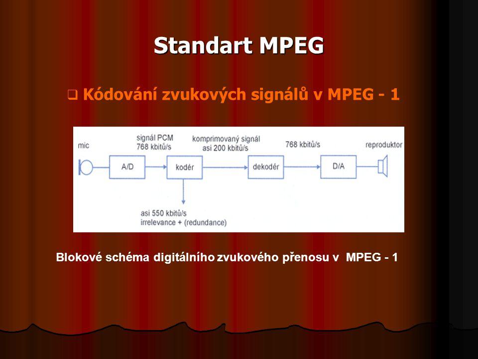 Standart MPEG Kódování zvukových signálů v MPEG - 1