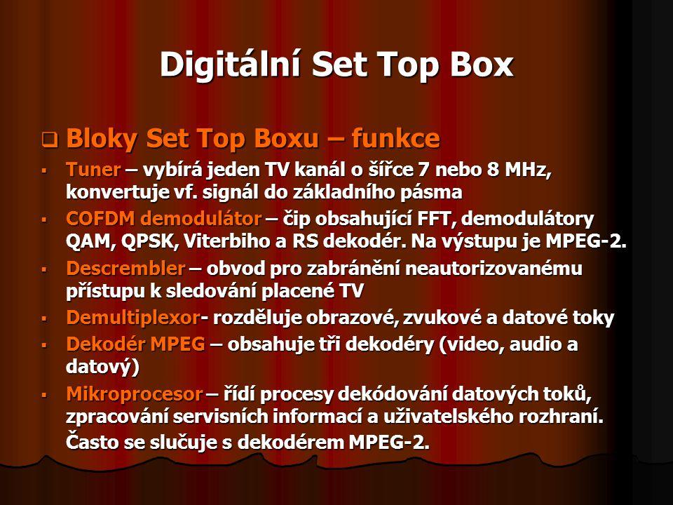 Digitální Set Top Box Bloky Set Top Boxu – funkce