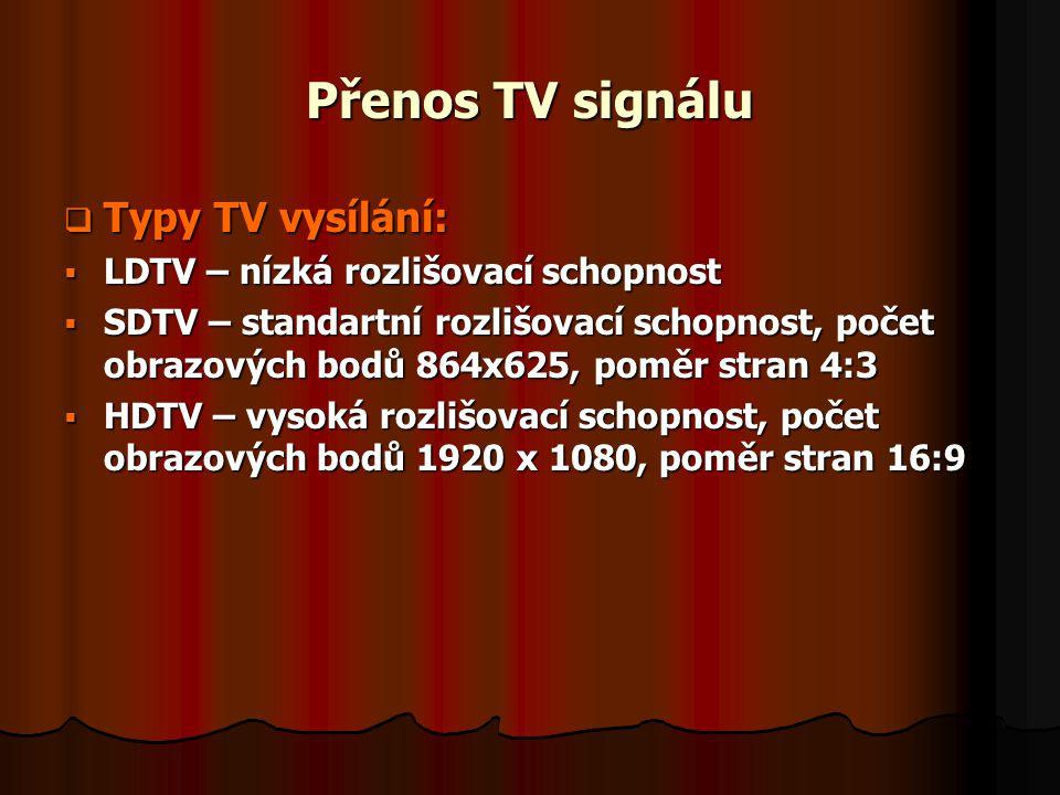 Přenos TV signálu Typy TV vysílání: LDTV – nízká rozlišovací schopnost