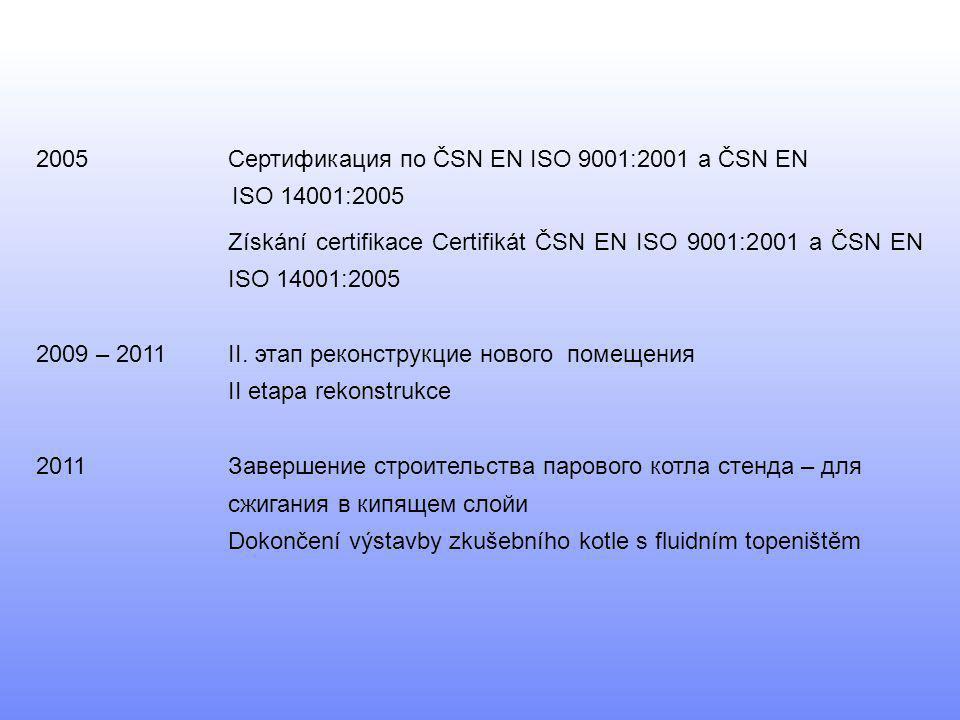 2005 Сертификация по ČSN EN ISO 9001:2001 a ČSN EN ISO 14001:2005
