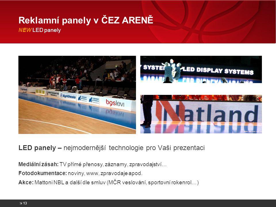 Reklamní panely v ČEZ ARENĚ NEW LED panely
