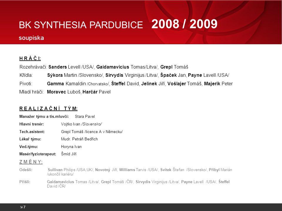 BK SYNTHESIA PARDUBICE 2008 / 2009