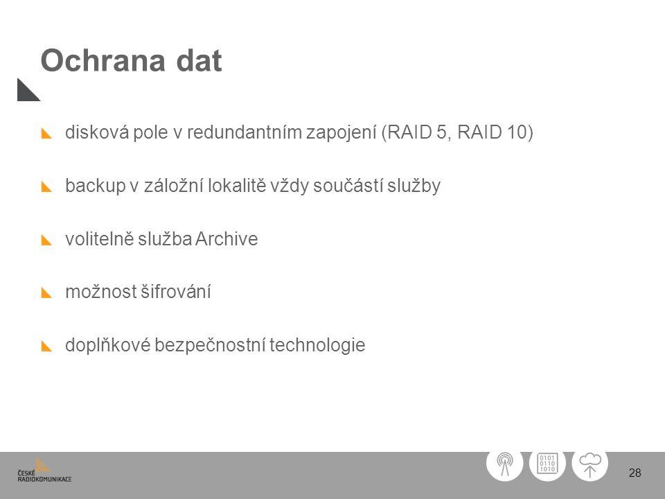 Ochrana dat disková pole v redundantním zapojení (RAID 5, RAID 10)