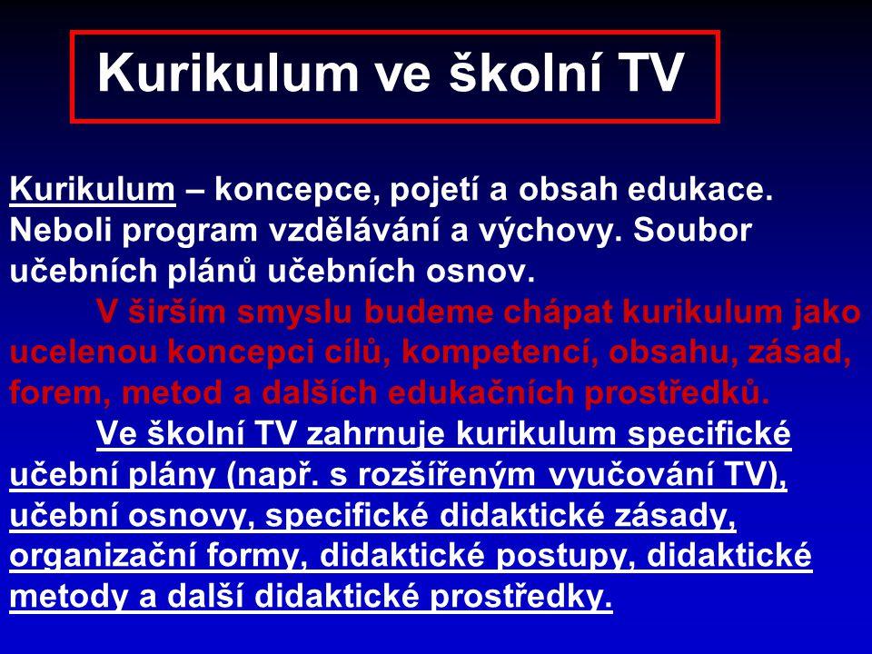 Kurikulum ve školní TV Kurikulum – koncepce, pojetí a obsah edukace