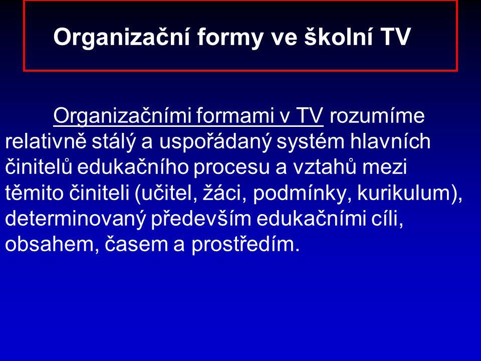 Organizační formy ve školní TV