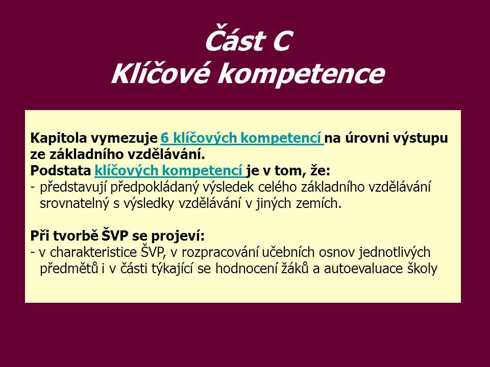Část C Klíčové kompetence