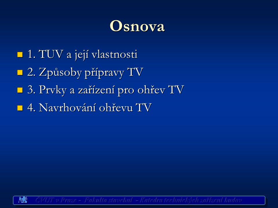 Osnova 1. TUV a její vlastnosti 2. Způsoby přípravy TV