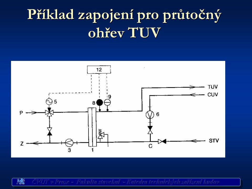 Příklad zapojení pro průtočný ohřev TUV