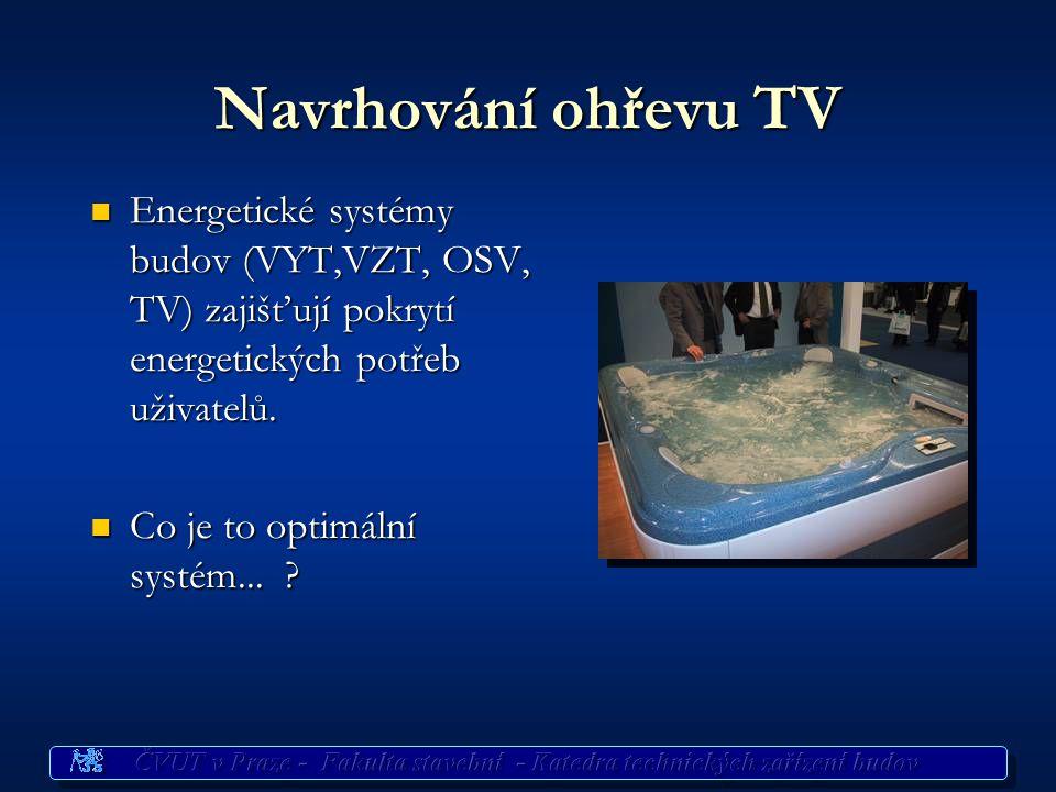 Navrhování ohřevu TV Energetické systémy budov (VYT,VZT, OSV, TV) zajišťují pokrytí energetických potřeb uživatelů.