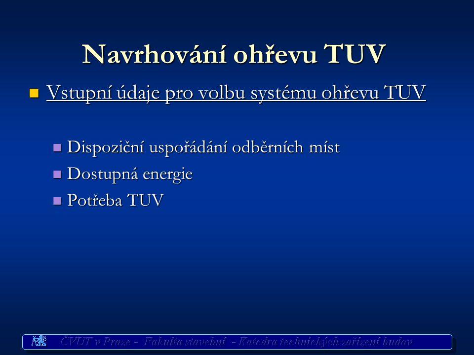 Navrhování ohřevu TUV Vstupní údaje pro volbu systému ohřevu TUV