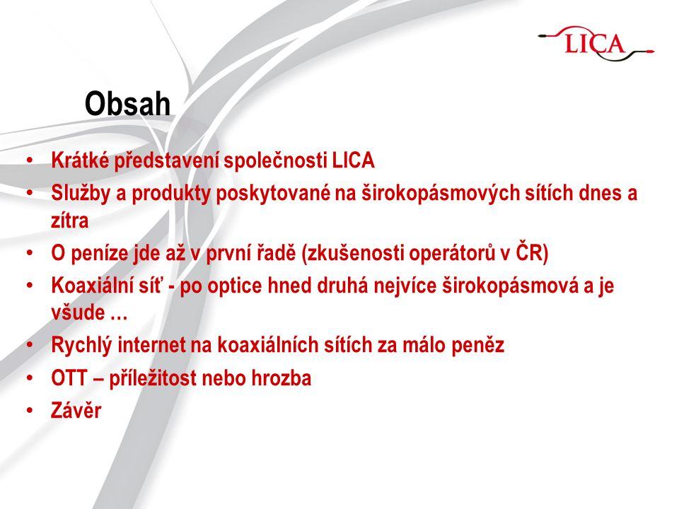 Obsah Krátké představení společnosti LICA