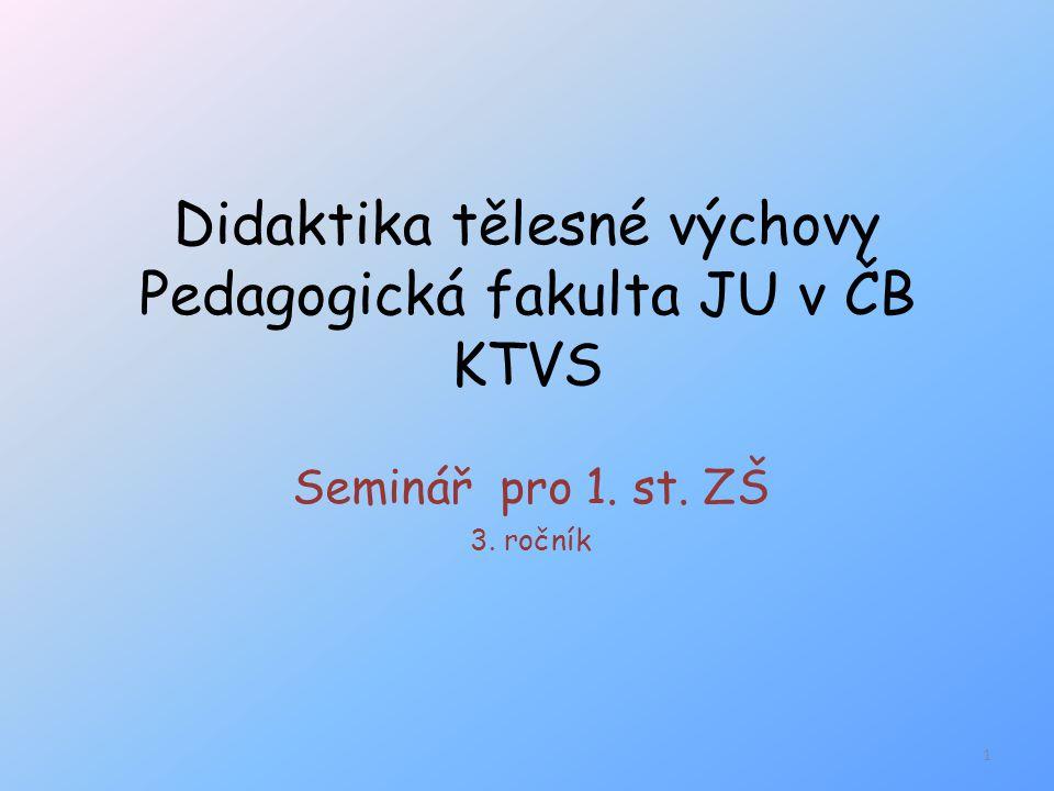 Didaktika tělesné výchovy Pedagogická fakulta JU v ČB KTVS