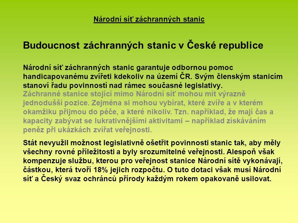 Budoucnost záchranných stanic v České republice Národní síť záchranných stanic garantuje odbornou pomoc handicapovanému zvířeti kdekoliv na území ČR. Svým členským stanicím stanoví řadu povinností nad rámec současné legislativy.