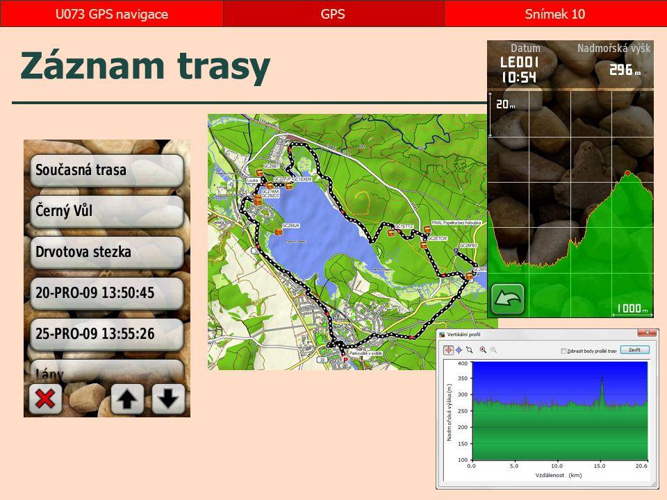 U073 GPS navigace GPS Záznam trasy