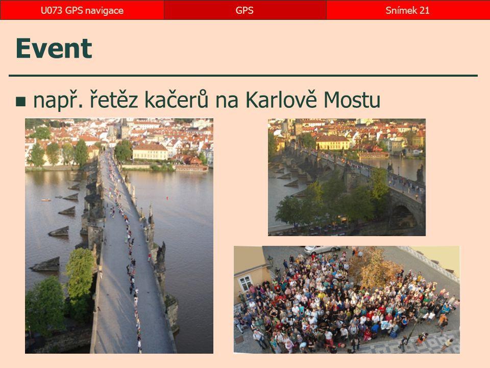 U073 GPS navigace GPS Event např. řetěz kačerů na Karlově Mostu