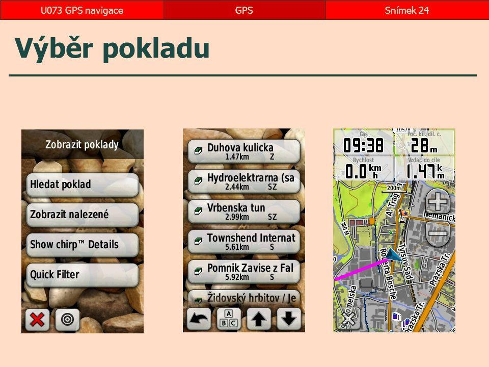 U073 GPS navigace GPS Výběr pokladu